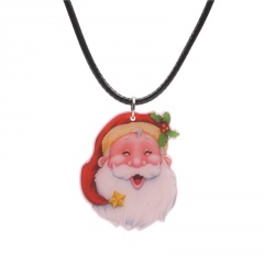Christmas Series Santa Claus Pendant Black Rope Necklace Jewelry Wholesale B