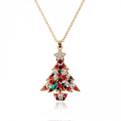 Crystal Christmas Tree Pendant Necklace Jewelry Wholesale A