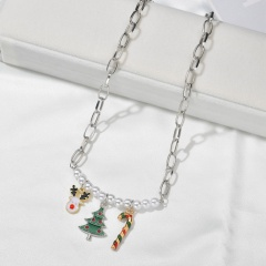 Wholesale Christmas Jewelry Pearl with Flower Pendant Chain Necklace Elk & Tree & Candy