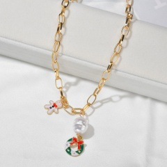 Wholesale Christmas Jewelry Pearl with Flower Pendant Chain Necklace Wreath