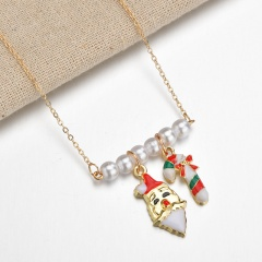 Wholesale Christmas Jewelry Pearl with Flower Pendant Chain Necklace Snata Claus & Candy