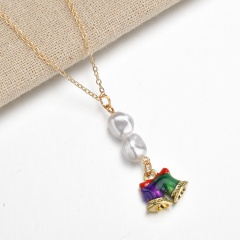 Wholesale Christmas Jewelry Pearl with Flower Pendant Chain Necklace Bell