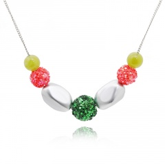 Handmade Beads Gold Chain Christmas Series Necklace Wholesale Green Ball