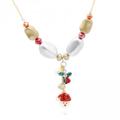 Handmade Beads Gold Chain Christmas Series Necklace Wholesale Santa Claus