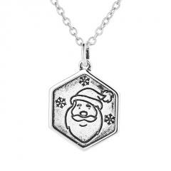 Retro Silver Santa Claus Pendant Chain Necklace Jewelry Wholesale Santa Claus