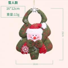 Santa Snowflake Plush Doll Pendant Christmas Ornament Green Snowman