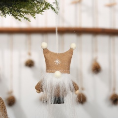 Christmas Double Ball Cap Faceless Doll Knitted Christmas Tree Ornament Brown