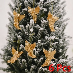 6 Pieces Christmas Angel Doll Wings Christmas Tree Ornament Gold
