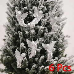 6 Pieces Christmas Angel Doll Wings Christmas Tree Ornament Silver
