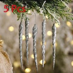5 Pieces Christmas Icicle Pendant Festival Ornament Gray