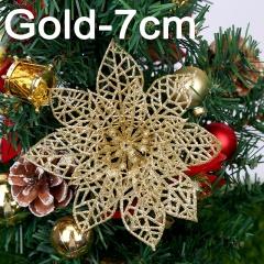 Christmas Flower Onion Powder Hollow Garland Christmas Tree Ornament Gold