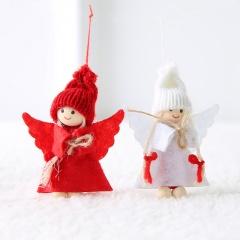Christmas Wool Felt Angel Couple Doll Ornament Red & White Angel