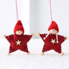 Christmas Wool Felt Angel Couple Doll Ornament Red Star
