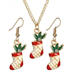 Colorful Gold Christmas Series Pendant Chain Necklace Wholesale Sock