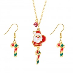 Gold Chain Christmas Tree Dangle Pendant Earring Jewelry Set Santa Claus & Candy