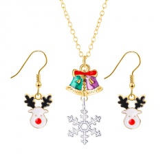 Gold Chain Christmas Tree Dangle Pendant Earring Jewelry Set Bell & Elk