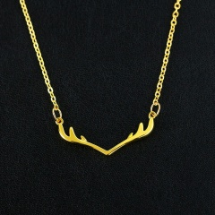Simple Christmas Elk Antler Clavicle Chain Necklace Gold