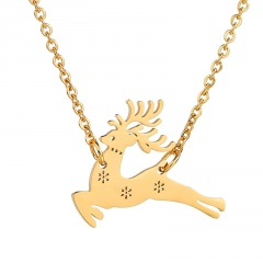 Silver Stainless Stell Fawn Simple Chain Necklace Wholesale Gold