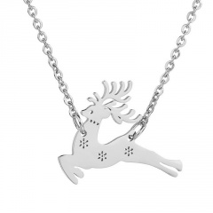 Silver Stainless Stell Fawn Simple Chain Necklace Wholesale Silver