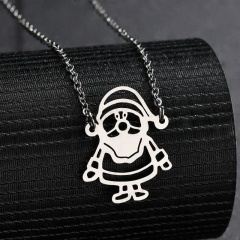 Silver Stainless Steel Santa Claus Hollow Chain Necklace Silver