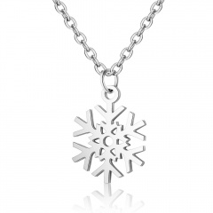 Stainless Steel Hollow Snowflake Pendant Necklace Silver