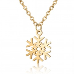 Stainless Steel Hollow Snowflake Pendant Necklace Gold