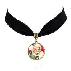 Santa Claus Time Gemstone Velvet Card Neck Chain Necklace A