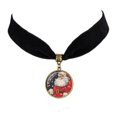 Santa Claus Time Gemstone Velvet Card Neck Chain Necklace C