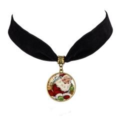 Santa Claus Time Gemstone Velvet Card Neck Chain Necklace E