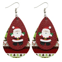 Double Layer Leather Dangle Earrings Christmas Jewelry Wholesale Santa Claus