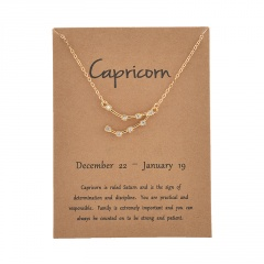 12 Constellation Gold Rhinestone Charm Necklace Jewelry Wholesale Capricorn