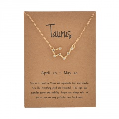 12 Constellation Gold Rhinestone Charm Necklace Jewelry Wholesale Taurus