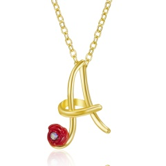 Red Rose Gold English Alphabet Pendant Chain Necklace A