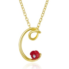Red Rose Gold English Alphabet Pendant Chain Necklace C