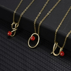 Red Rose Gold English Alphabet Pendant Chain Necklace X