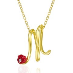 Red Rose Gold English Alphabet Pendant Chain Necklace M