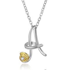 Gold Rose Flower Silver English Alphabet Pendant Necklace Wholesale A