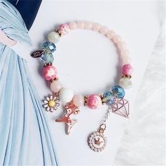 Fawn Flower Gemstone Beads Elastic Bracelets Jewelry Wholesale Pink