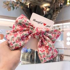 Large Ribbon Bowknow Floral Hair Clip Headwear Pink