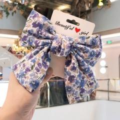 Large Ribbon Bowknow Floral Hair Clip Headwear Blue