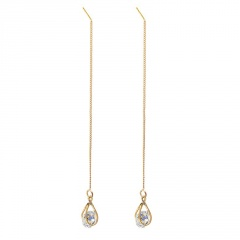 Gemstone Silver Long China Dangle Earring Jewelry Wholesale Gold