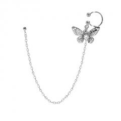 Silver Long Chain Fashion Women's Earring Jewelry Butterfly