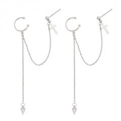 Silver Long Chain Fashion Women's Earring Jewelry Cross