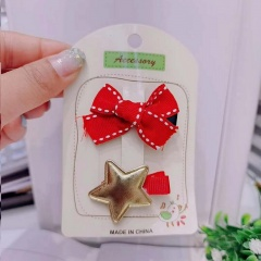 2 Pieces/Set Christmas Series Children's Hairpins Hairclip Wholesale Bow & Star