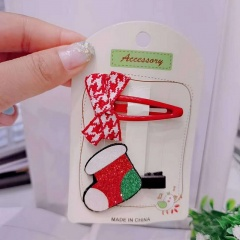 2 Pieces/Set Christmas Series Children's Hairpins Hairclip Wholesale Bow & Sock