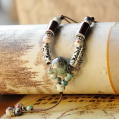 Ethnic Handmade Beaded Tassel Ceramic Sweater Chain Necklace Green