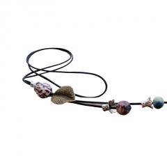 Ethnic Style Leaf Beaded Ceramic Tassel Sweater Chain Necklace Bead