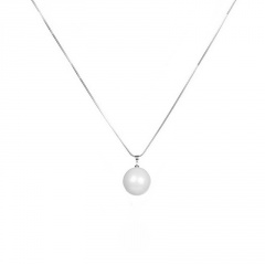 Fashion Silver Gold Pearl Pendant Long Chain Necklace Wholesale Silver