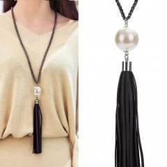Gold Fashion Long Chain Necklace Jewelry Wholesale Pearl