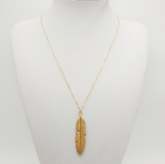 Fashion Feather Sweater Long Chain Necklace Wholesale Gold